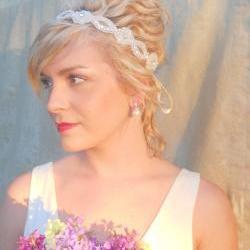 Desi Ribbon Tie Sparkling Wedding Occasion Headband Winter Wedding Fall Wedding Bridal Tiara
