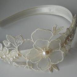Ivory Bridal Headband With Pearl Embellishments and Embroidered Organza